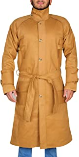 TrendHoop Men Officer Style Costume Brown Cotton Trench Long Coat