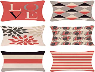 ZUEXT Coral Valentines' Day Love Theme Geometric Throw Pillow Covers 12x20 Inch Set of 6, Cotton Linen Indoor Outdoor Cushion Pillowcase for Car Sofa Home Decor(Coral Navy New Living Seris)