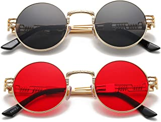 Vintage Round John Lennon Sunglasses Steampunk Gold Metal Frame Clear Sun Glasses
