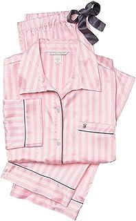 (ヴィクトリアシークレット)VICTORIA'S SECRET サテンパジャマ ピンクストライプ The Afterhours Satin Pajama Pink Stripe [並行輸入品]