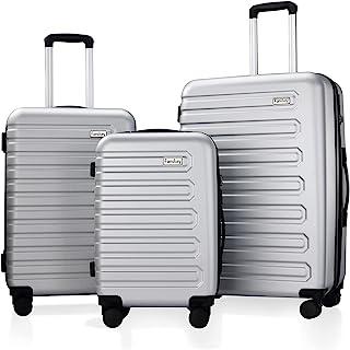 Fanskey Luggage, 3 Piece Set Suitcase with Spinner wheels, Hardshell, Lightweight, TSA Lock (Silver)