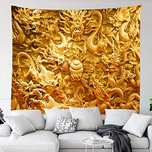 BERRY Golden Chinese Dragon Cloud Tapestry Asian Tradition Culture Tapestry Wall Hangings Large Tapestry for Bedroom Living Room Dorm Man Cave(80x60 Inch)