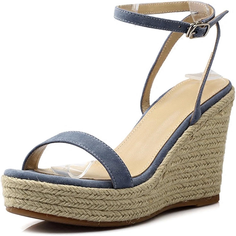 High Heels Wedge Sandals Summer Women's High Heels Sandals Fashion New Joker Sandals Ultra High Heel Waterproof Platform 9cm Platform Sandals (color   bluee, Size   35)