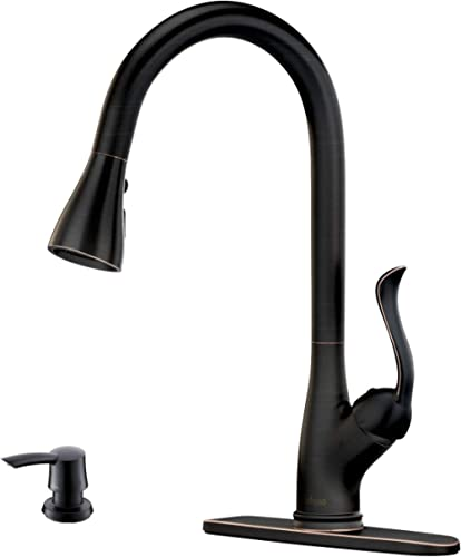 Patented Pull Down Kitchen Faucet with Sprayer Oil Rubbed Bronze - Single Handle Antique One Hole High Arc Pull Out K...