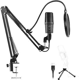 Mothca マイクセット USB マイク コンデンサーマイク マイクスタンド スタジオマイク スタンドアームセット PCマイク 高品質 音楽 録音 宅録 ゲーム実況 生放送 カラオケ 折り畳み ポップガード付き USBオーディオ アダプター (set1)