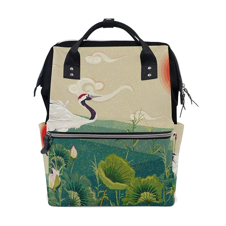 Crane Sunset Flower School Backpack Large Capacity Mummy Bags Laptop Handbag Casual Travel Rucksack Satchel For Women Men Adult Teen Children kxfrrejuwmasc164