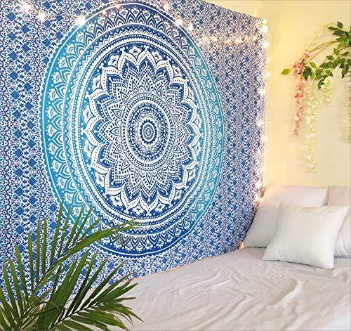 THE ART BOX Arazzo da parete con arazzo indiano Ombre Mandala - Asciugamano da spiaggia etnico indiano - 100% cotone - Copridivano / copriletto, pareo, multiuso , Blu e bianco , 135x160 Cm