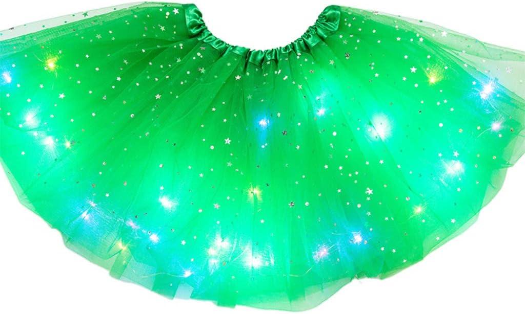 BELTI Ni/ños Ni/ñas LED Light Up Glitter Star Lentejuelas Ballet Danza Tul Tutu Falda 3-12T