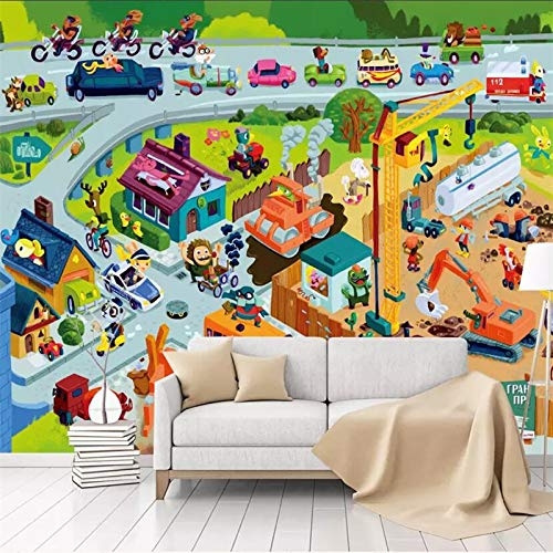 Fototapete/Fototapete, modernes Cartoon-Design, Baustelle Arbeiter, Kinderzimmer, Grün