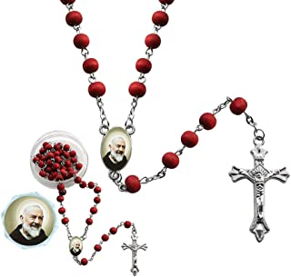 St. Padre Pio Red Scented Rosary (12 PCS) with Organza Gift Bag