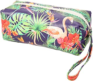 HOYOFO Wristlet Makeup Pouch Women Cosmetic Bags Small Portable Handy Makeup Travel Bag, Flamingo