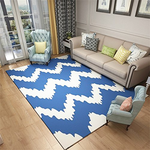 Moquettes tapis et sous-tapis Nordic Wind Geometric Living Room Canapé Tapis de table de café Tapis de chevet rectangulaire simple et moderne (Blue Wave Pattern) (taille : 140 * 200cm)