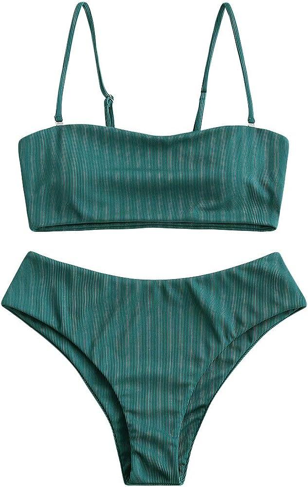 ZAFUL Women's Two-Piece Basic Padded Textured Bandeau Bathing Suit Spaghetti Straps Cami Bikini Set(Large,Peacock Blue-a)