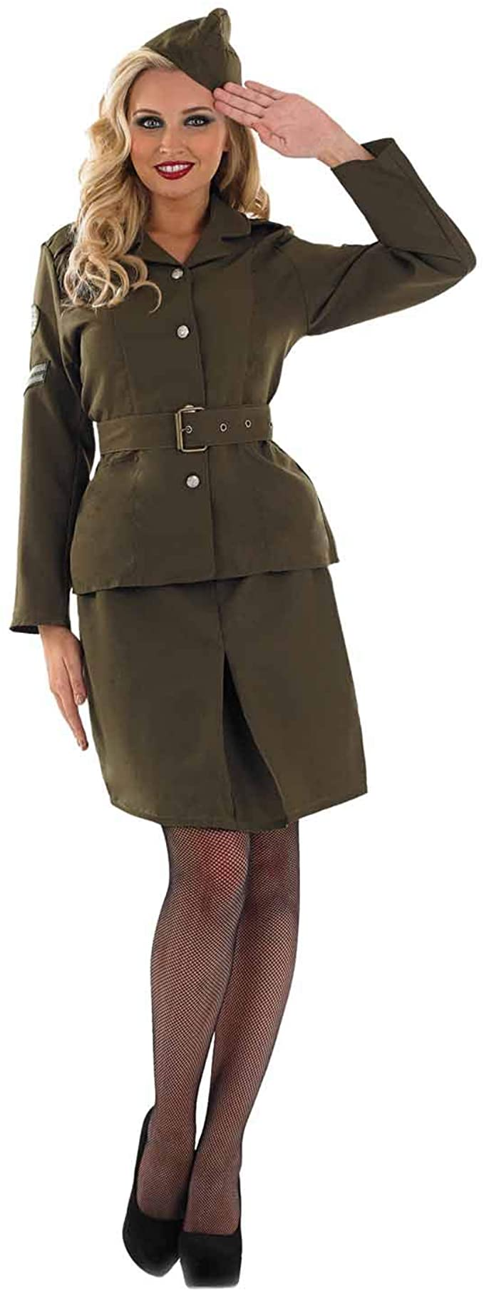 1940s Costumes- WWII, Nurse, Pinup, Rosie the Riveter fun shack Military Costume for Women Army Khaki WW2 Halloween Costumes for Women Available in Sizes Small Medium Large XL XXL  AT vintagedancer.com