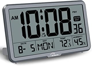 WallarGe Digital Wall Clock, Autoset Desk Clocks with Temperature, Humidity and Date, Battery Operated Digital Wall Clock Large Display, 8 Time Zone, Auto DST. (Grey)