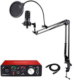 Audio Technica AT2035 Microphone with Focusrite Scarlett Solo USB Audio interface (2nd Gen), Knox Mic Desktop Boom Arm, Pop Filter & XLR Cable