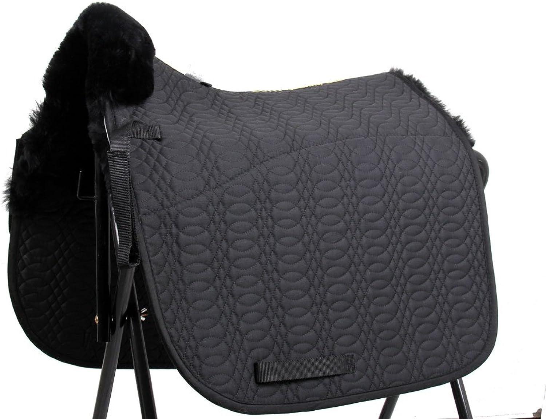 Merauno Sheepskin GP Saddle Pad Jumping Saddlecloth & Square Saddle Pads Horse Riding Show General Purpose Pad Black