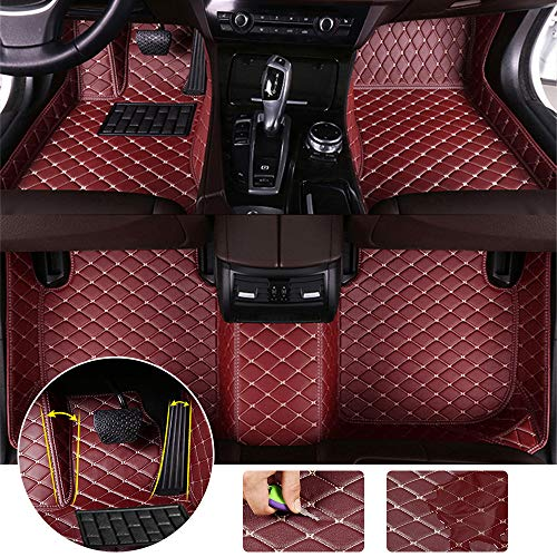 Leather Floor Mats Fit for Audi A3 Hatchback 2008-2012 Full Protection Car Accessories Wine Red 3 Piece Set