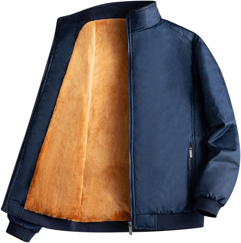 Huangse Bomber Jacket for Men Lightweight Fleece Lined Waterproof Jacket Windbreaker Solid Climbing Outdoor Trench Coats