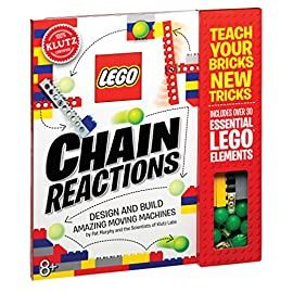 Klutz Lego Chain Reactions Science/STEM Activity Kit 16 Nappa silver award winner Design and build 10 amazing moving machines - teach your bricks new tricks Comes with 80 page instructions, 33 LEGO pieces, Instructions for 10 modules, 6 plastic balls, string, paper ramps and other components