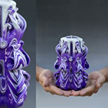 Christmas Gift Decorative Unique Hand Carved Candle for Mothers Day, Mother in law Birthday For Her Handmade Shop Purple Special