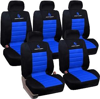 Lestarain Auto Sitzbezug Autoschonbezug universal Schonbezug 5X Einzelsitzbezüge aus Polyester für Vans,Schwarz Blau