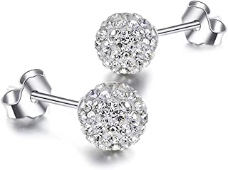 Designer Pave Crystal Disco Ball Clay Beads Shamballa Earrings Stud - 8mm Made with Crystal from Swarovski Elements