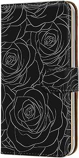 手帳型 カードタイプ スマホケース LG isai vivid LGV32 用 [型押し風・黒薔薇] 花柄 ローズ エルジー イサイ ビビッド au スマホカバー 携帯ケース スタンド bara 00r_170@05c