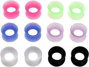 PiercingJ 12pcs Ultra Thin Silicone Double Flared Flexible Tunnel Ear Stretching Plug Gauge - 6 Pairs