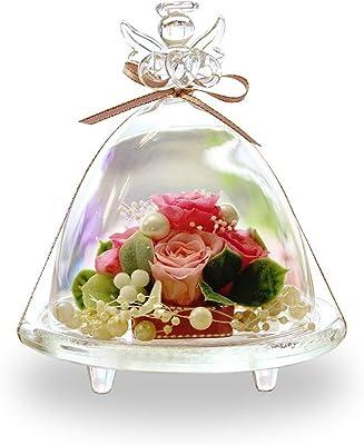 プリザーブドフラワー IPFA ガラスドーム エンジェル [バラ プレゼント] 花/ギフト/結婚記念日/誕生日 (ピンク×ピンク)