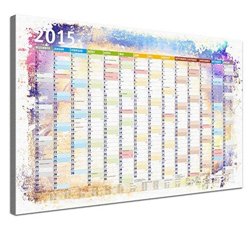 LanaKK, Stampa su Tela, incorniciata su Telaio, Motivo: Calendario, Multicolore (Bunt), 100 x 70 cm