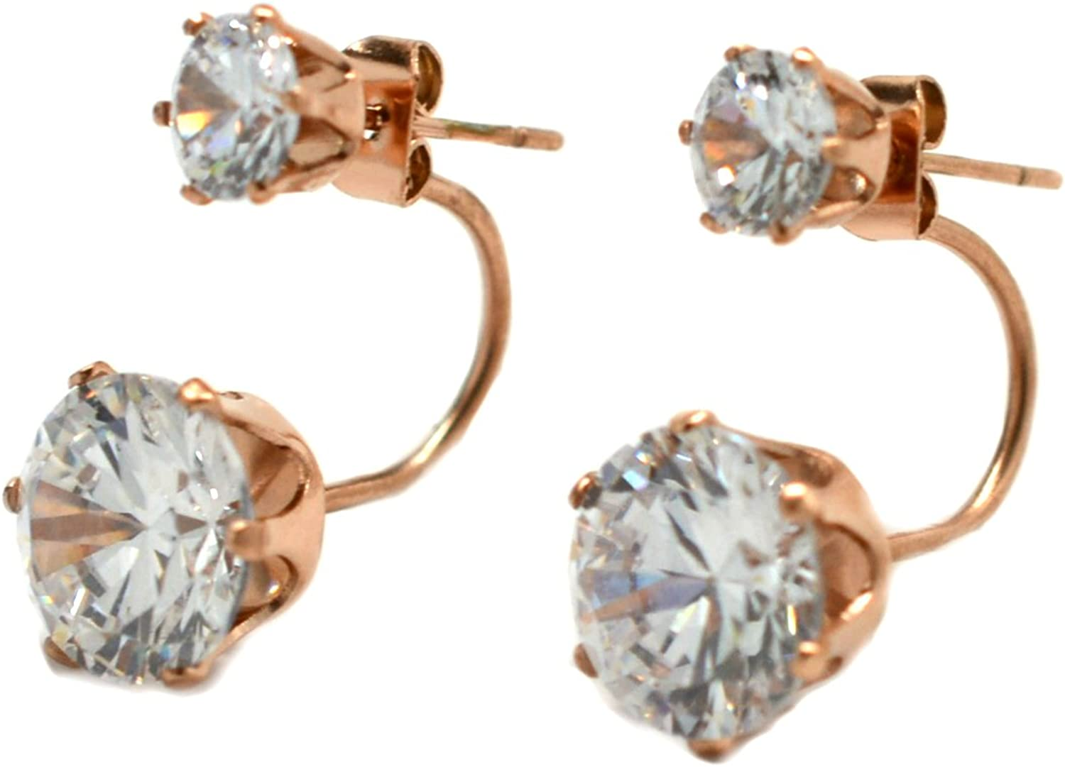 Miss Mozart 18K Pink Gold Plated Stainless Steel Double CZ Stone Earring Jackets