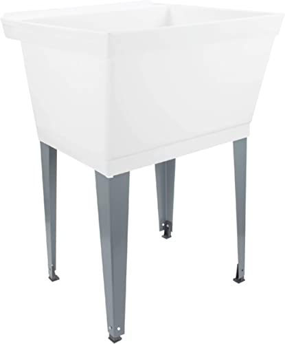 19 Gallon Laundry Utility Tub by Maya, White Heavy Duty Thermoplastic Basin, Adjustable Metal Legs, Everything Necess...