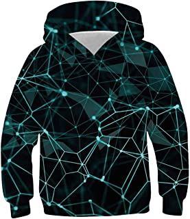 LUCKYWE AIDEAONE Boys Girls 3D Print Casual Pullover Hoodies Hooded Sweatshirts Tops Blouse with Pocket Age 6-16