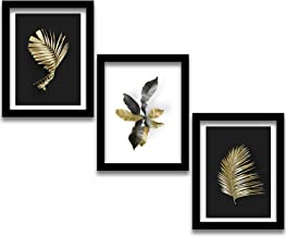Rainbow Arts - Black Leaf Wall Paintings with Frame for Living Room - Golden Leaf Framed Painting / Posters for Wall Decor...