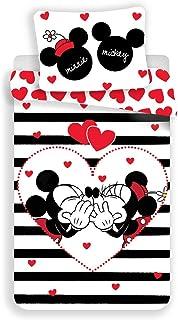 Disney Mickey & Minnie Mouse Heart & Stripes - Juego de cama (140 x 200 cm, funda de almohada 70 x 90 cm, 100% algodón), color negro y blanco