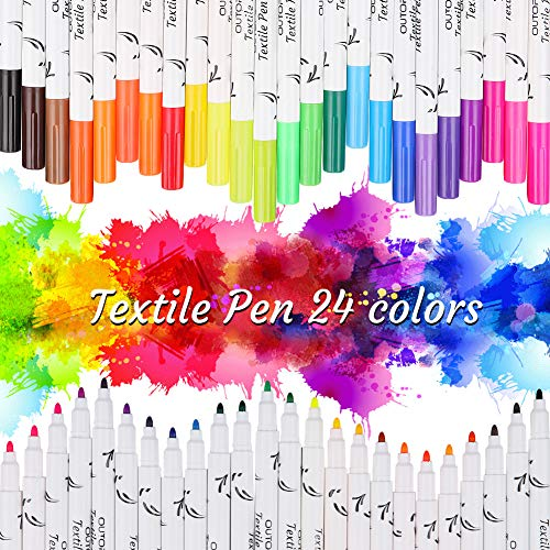 OUTOPE Textilstifte Waschmaschinenfest, Wasserfeste Textilmarker, Stoffmalstifte Waschfest Stifte Enthält 3 Vorlagen Ideal für T-Shirts, Schuhe, Taschen und andere Stoffarten(24er Set Stoffstifte)