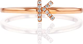 Social Value 14K Solid Rose Gold Natural Diamond Initial 'K' Letter Personalized Stacking Ring