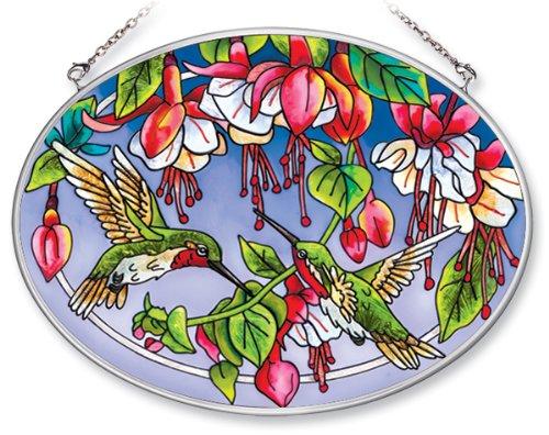 Amia 5669 Medium Oval Suncatcher with Hummingbird and Fuchsia Design Handpainted Glass 7Inch W by 51/2Inch L