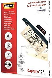 Fellowes 5307506 Pochettes de plastification 125 microns - Format A3 - Pack de 100 pochettes - Technologie ImageLast