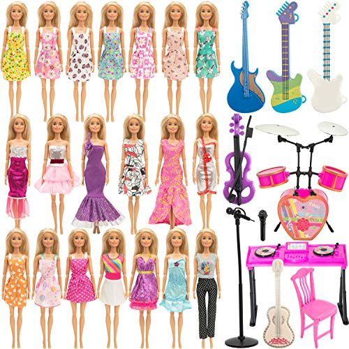 SOTOGO 30 Pieces Doll Clothes and Accessories for 11.5 Inch Girl Doll Musical Entertainment Include 12 Set Wearing Costume Clothes Changes Dresses, 10 Pieces Musical Instruments Toys Accessories