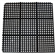 New Star 1 pc Heavy Duty Black 36x36 inch Interlocking Restaurant / Bar Anti-Fatigue Rubber Floor Mat