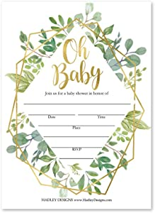 25 Geometric Greenery Baby Shower Invitations, Sprinkle Invite For Boy or Girl, Coed Garden Gender Reveal Neutral Theme, Cute Boho Fill or Write In Blank Printable Card, Floral Party DIY Supplies