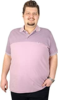 mode xl-Büyük Beden Erkek T-Shirt Polo Petek Baskılı 19404 Lila