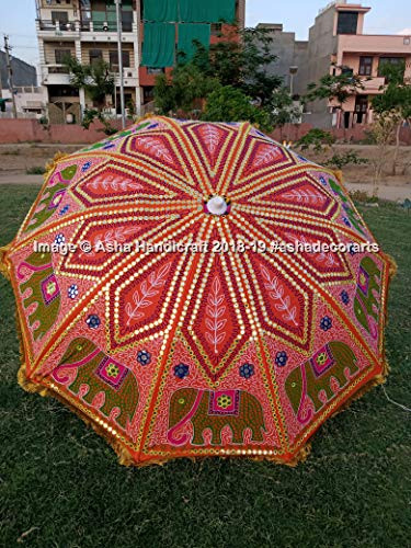 Asha Handicraft Indian Hippie Elephant Embroidery Garden Umbrella Parasols, Bohemian Beautiful Beach...