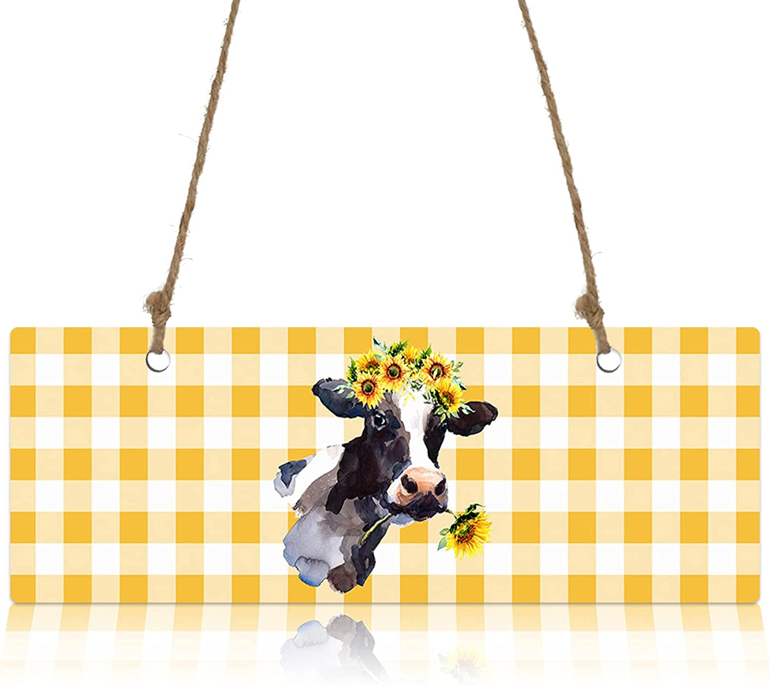 Wall Sign Wood Plaque Rapid rise Farmhouse with Garland Cow Sunflowers Welc We OFFer at cheap prices