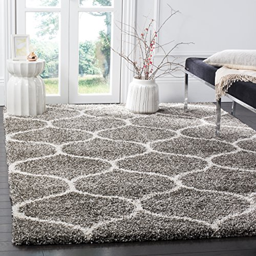 Safavieh Hudson Shag Collection SGH280B Grey and Ivory Moroccan Ogee Plush Area Rug (6' x 9')