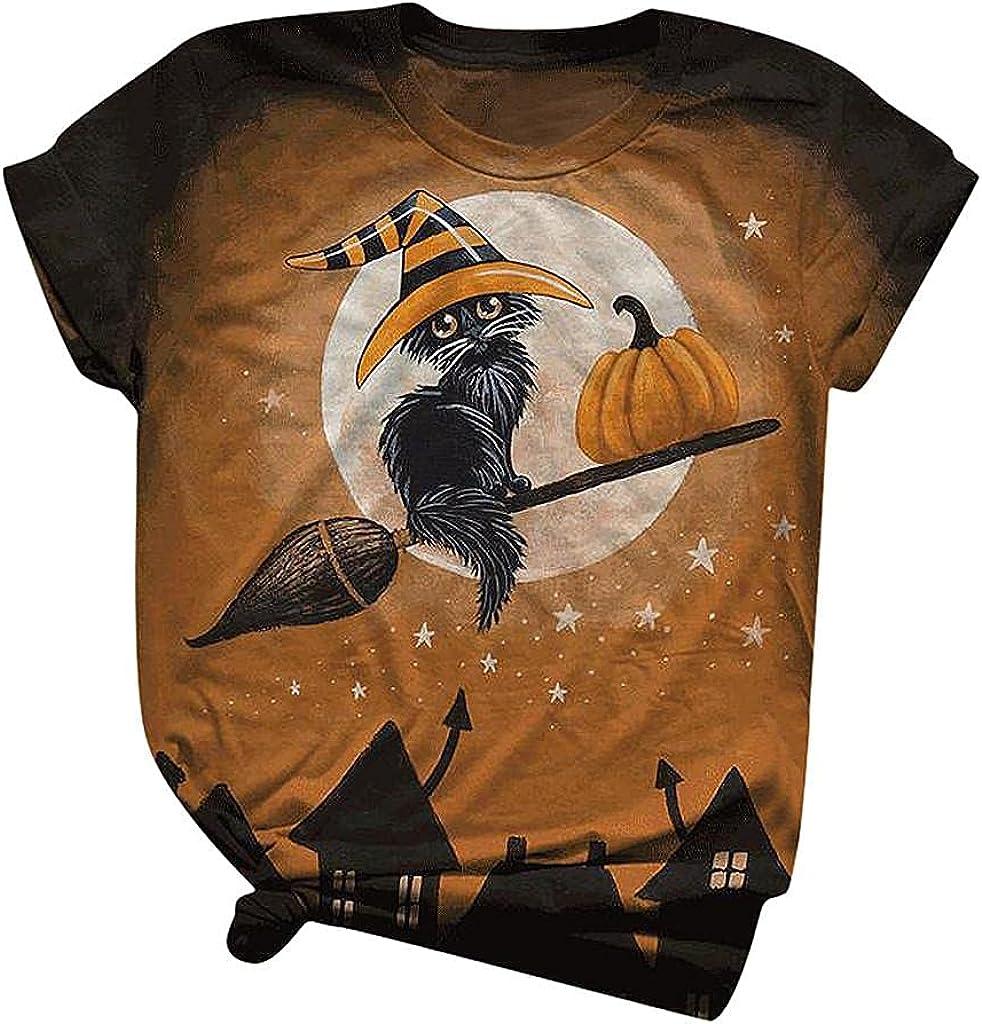 AODONG Halloween Shirts for Women, Womens Halloween Printed Shirts Crewneck Casual Summer Short Sleeve Tee Tops Blouse