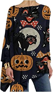 Comaba Women Floral Print Blouse Pumpkin Halloween Stylish Long Sleeve Tees Top