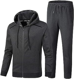 8e2ece037aa INVACHI Men s Casual 2 Pieces Contrast Cord Full Zip Sports Sets Jacket    Pants Active Fitness